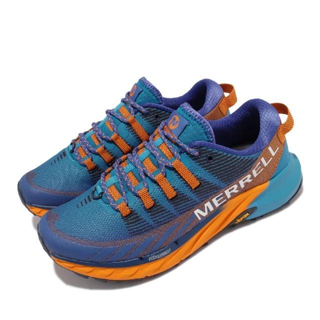 【MERRELL】慢跑鞋 Agility Peak 4 男鞋 彈性 支撐 回彈 耐磨 黃金大底 藍 橘(ML135111)