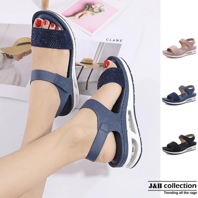 【J&H collection】奢華一字水鑽氣墊厚底坡跟涼鞋(現+預 粉色 / 藍色 / 黑色)