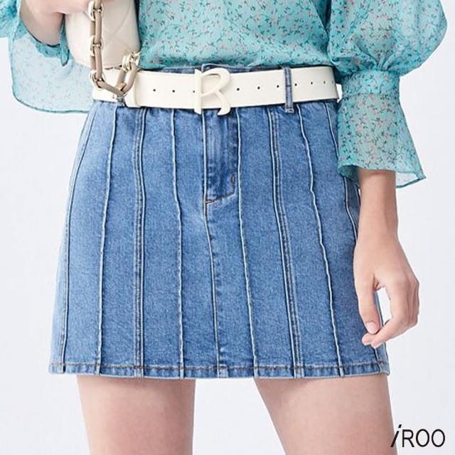【iROO】多壓線 牛仔 短裙