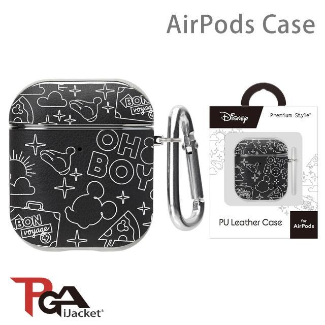 【iJacket】迪士尼 AirPods 箔押皮革 質感保護殼(米奇黑)