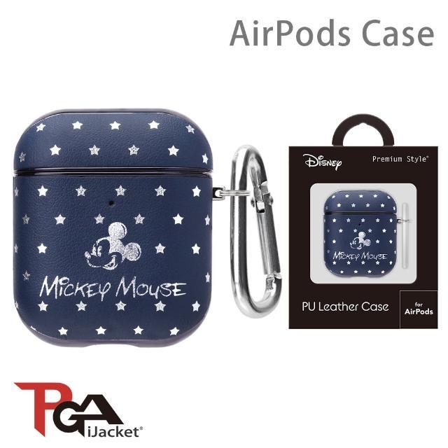 【iJacket】迪士尼 AirPods 箔押皮革 質感保護殼(米奇海軍藍)