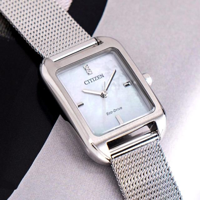 【CITIZEN 星辰】氣質優雅光動能不鏽鋼米蘭帶腕錶/銀x白面(EM0491-81D)