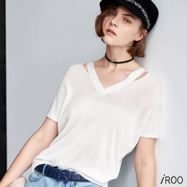 【iROO】領口裝飾 針織上衣