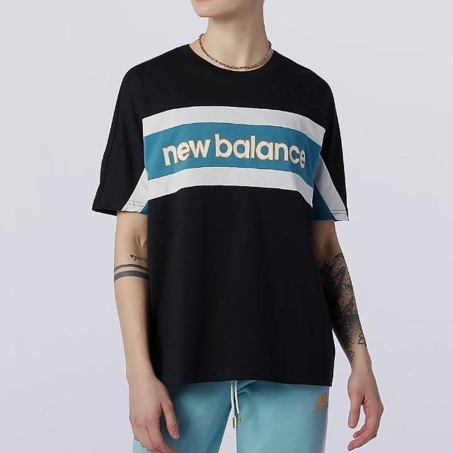 【NEW BALANCE】NB 上衣 女款 短袖上衣 運動 慢跑 健身 訓練 黑 AWT13504BK