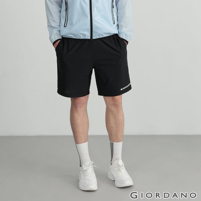 【GIORDANO 佐丹奴】男裝輕薄涼感內抽繩短褲(09 標誌黑)