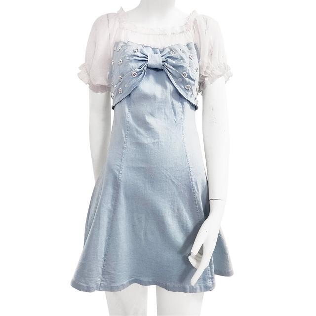 【SHOWCASE】俏麗網紗一字領拼接蝴蝶結造型牛仔縮腰小洋裝(藍色)