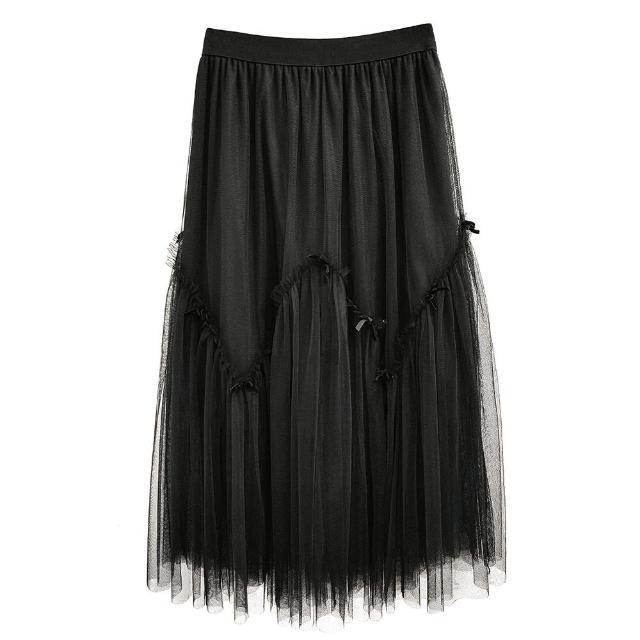 【SHOWCASE】唯美蝴蝶結飾多層次飄逸網紗中長裙(黑色)