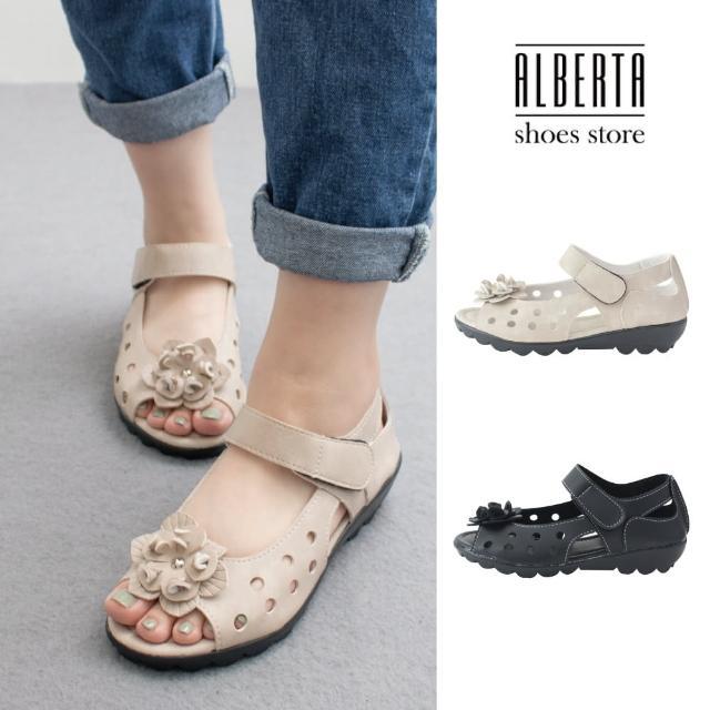 【Alberta】MIT台灣製 3.5cm休閒鞋 休閒百搭花朵洞洞透氣 皮革楔型露趾圓頭涼拖鞋 魔鬼氈