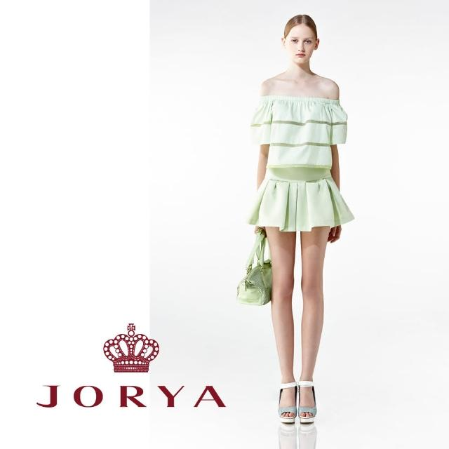 【JORYA】weekendH2003301素色拼接小碎花細肩帶平口上衣