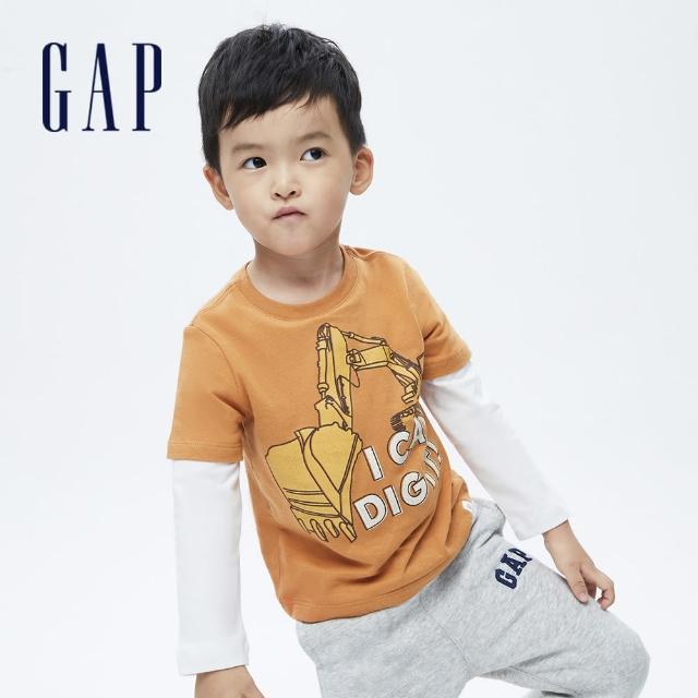 【GAP】男幼童 純棉假兩件印花長袖T恤(732723-橙色)