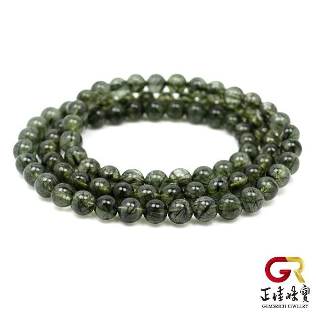 【正佳珠寶】綠髮晶 細紋細絲手珠 6.5mm 綠髮晶三圈手珠|日本彈力繩(正財能量寶石)
