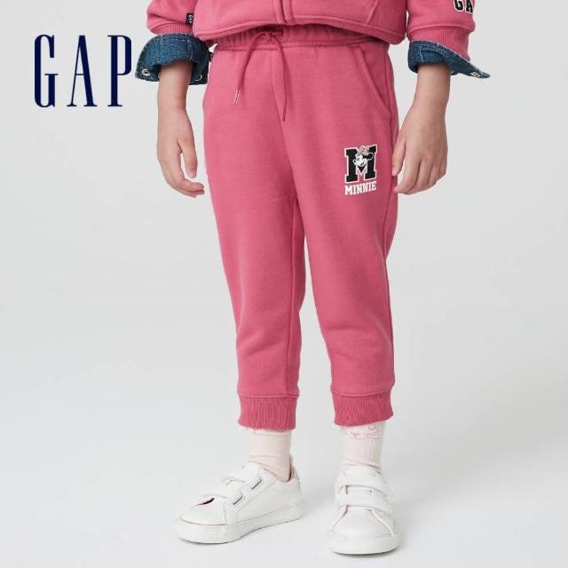 【GAP】女幼童 Gap x Disney 迪士尼系列印花刷毛休閒褲(732030-粉色)