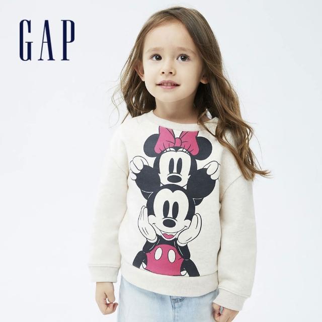 【GAP】女幼童 Gap x Disney 迪士尼系列印花刷毛休閒上衣(731718-米色)