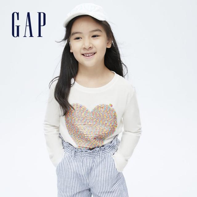【GAP】女童 可愛翻轉亮片長袖T恤(714168-白色)