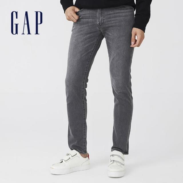 【GAP】男裝 復古磨白修身軟牛仔褲(709143-灰色水洗)