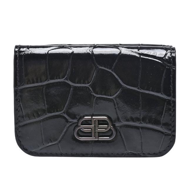【Balenciaga 巴黎世家】銀色BB LOGO鱷魚壓紋小牛皮暗釦三折短夾(黑601387-1LRIW-1000)