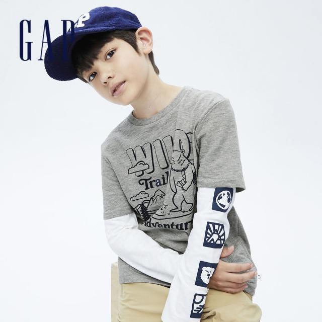 【GAP】男童 純棉假兩件印花長袖T恤(707865-淺灰色)