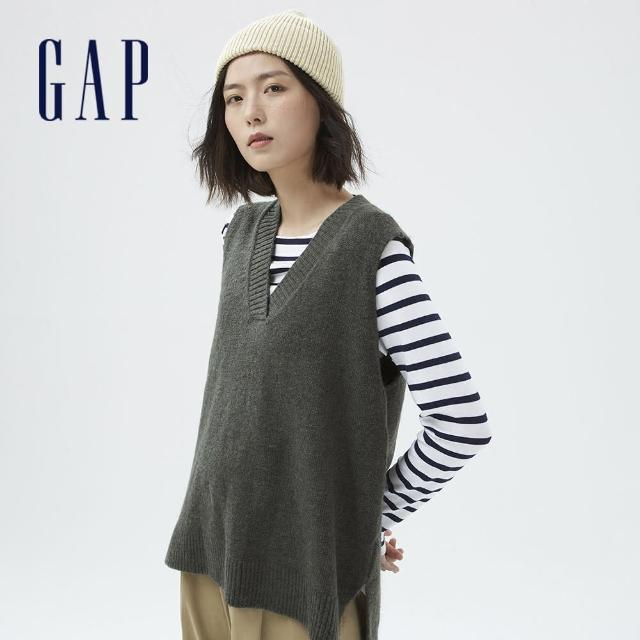 【GAP】女裝 羊毛混紡V領無袖毛衣(703921-綠色)