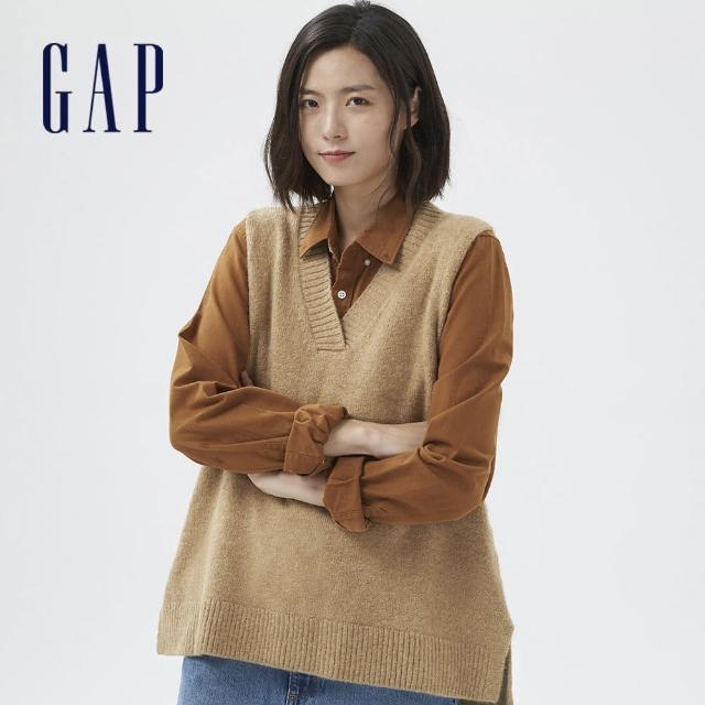 【GAP】女裝 羊毛混紡V領無袖毛衣(703921-駝色)