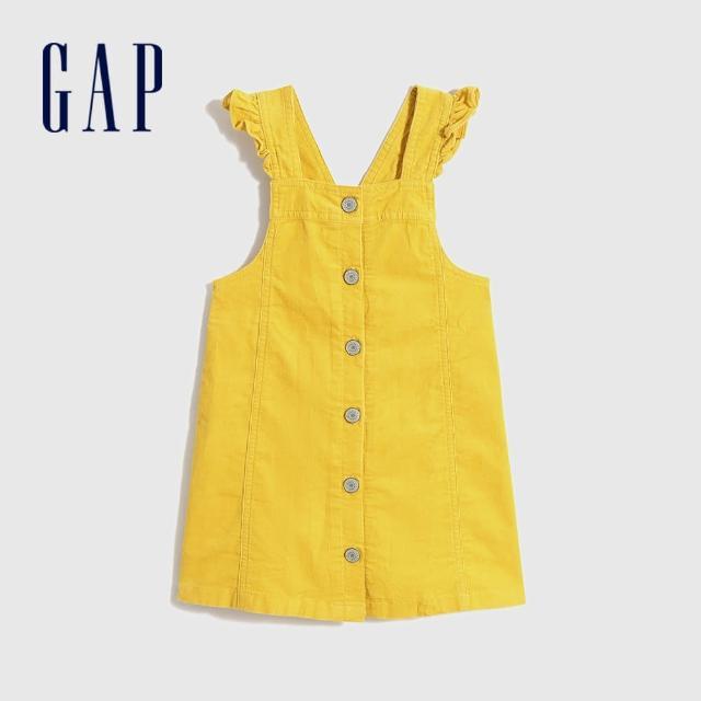 【GAP】女幼童 俏皮純棉花邊吊帶裙(698570-黃色)