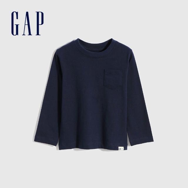 【GAP】男幼童 布萊納系列 基本款純棉長袖T恤(669934-藏青色)
