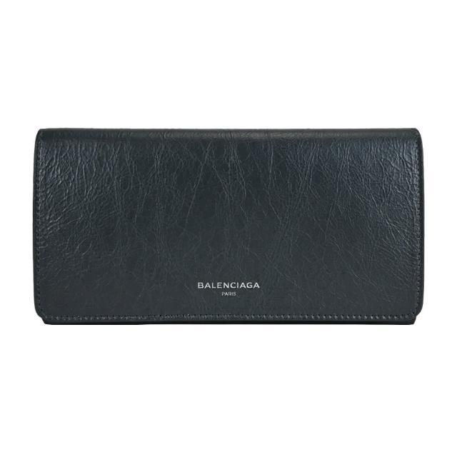 【Balenciaga 巴黎世家】經典燙印LOGO小羊皮翻蓋長夾(黑)