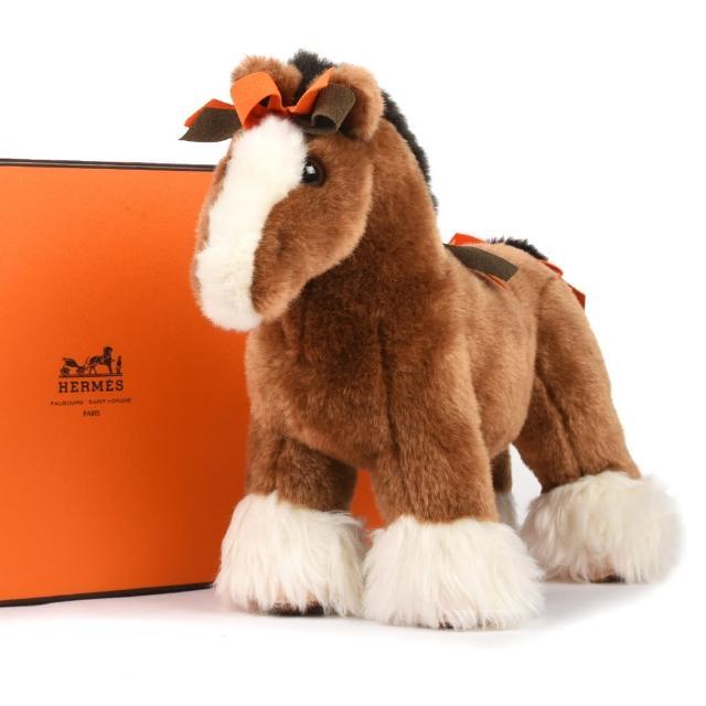 【Hermes 愛馬仕】Hermy plush horse MM可愛小馬絨毛玩偶擺飾(中型/棕色)