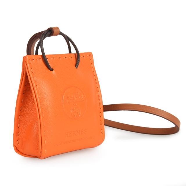 【Hermes 愛馬仕】經典立體提袋造型小羊皮吊飾掛飾(經典橘色)