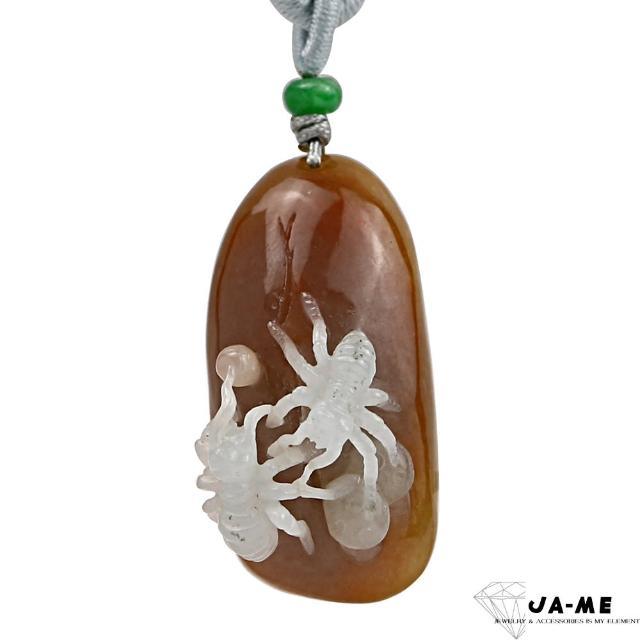 【JA-ME】天然A貨翡翠紅翡巧雕天道酬勤項鍊