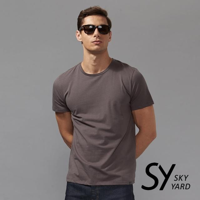 【SKY YARD】舒適柔棉素面短袖圓領T恤(深灰)