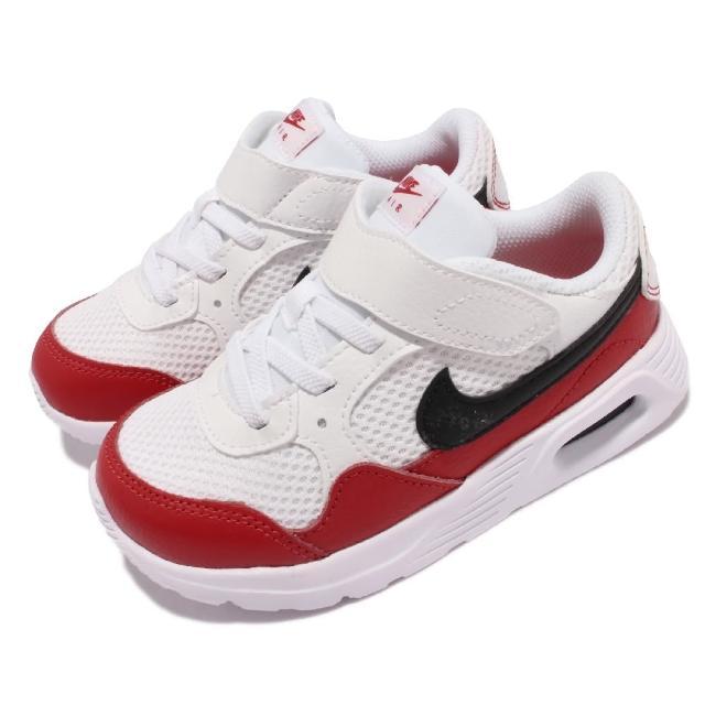 【NIKE 耐吉】休閒鞋 Air Max SC TDV 運動 童鞋 氣墊 舒適 避震 魔鬼氈 小童 球鞋穿搭 白 紅(CZ5361-106)