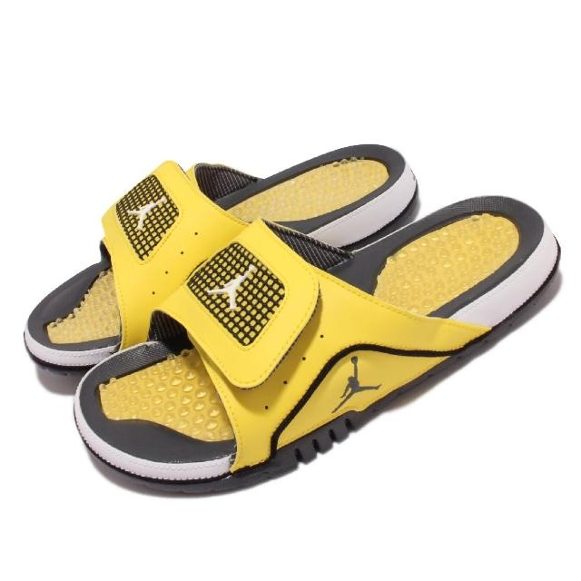 【NIKE 耐吉】拖鞋 Jordan Hydro IV Retro男鞋 魔鬼氈 按摩果凍軟墊 輕便 穿搭 黃 黑(DN4238-701)