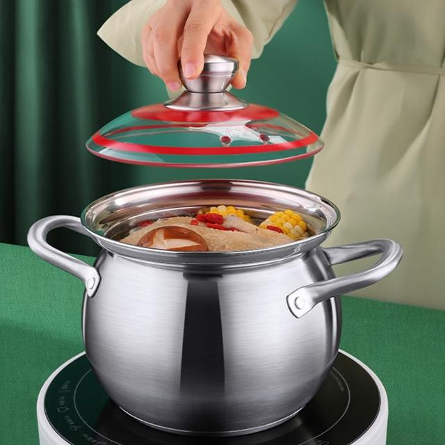 【PUSH!】廚房用品 304不銹鋼加厚大容量煮湯鍋電磁爐通用(雙耳湯鍋D263)