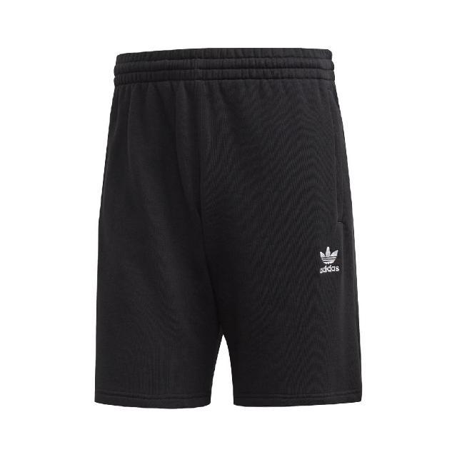 【adidas 愛迪達】短褲 Essentials Shorts 男款 愛迪達 運動休閒 膝上 寬鬆 基本 口袋 黑白(FR7977)