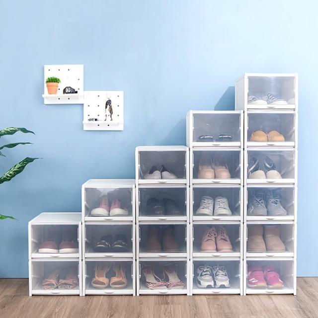 【FL 生活+】超耐重自動掀蓋組合式鞋盒-升級加大款(16入組黑/白)