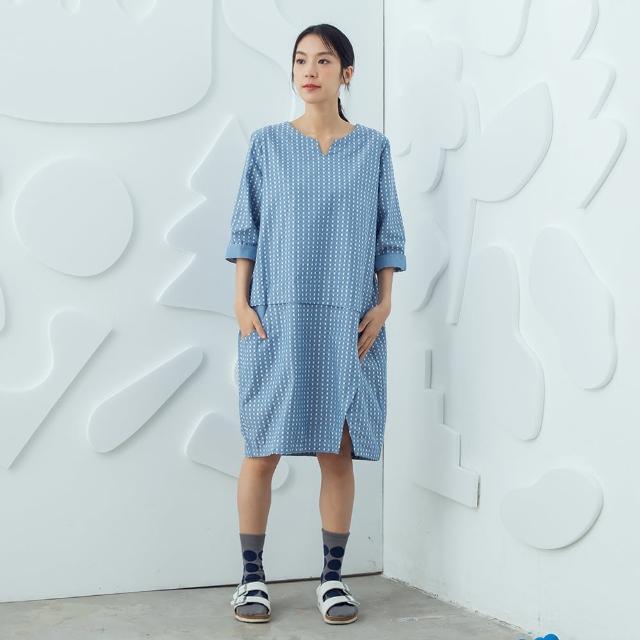 【MOSS CLUB】點點提花-女短袖洋裝 點點 藍(藍色/魅力商品/版型寬鬆)