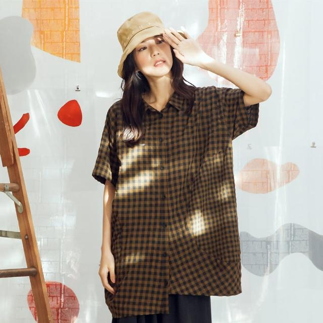 【MOSS CLUB】格子半圓拼接-女短袖襯衫 拼接 藍 咖(二色/版型合身)