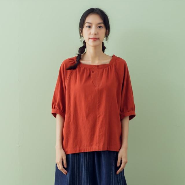 【MOSS CLUB】假圓弧褲頭領口-女五分袖襯衫 素色 藍 黑 桔(三色/版型合身)