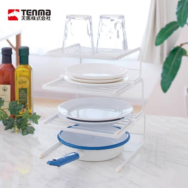 【日本天馬】廚房系列多功能三層備料碗碟置物架(碗盤瀝水架 碗盤置物架 廚具儲物架 廚房台面置物架)