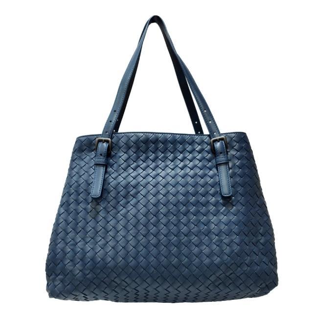 【BOTTEGA VENETA 寶緹嘉】624019 經典手工編織小羊皮雙提把托特包(藍色)