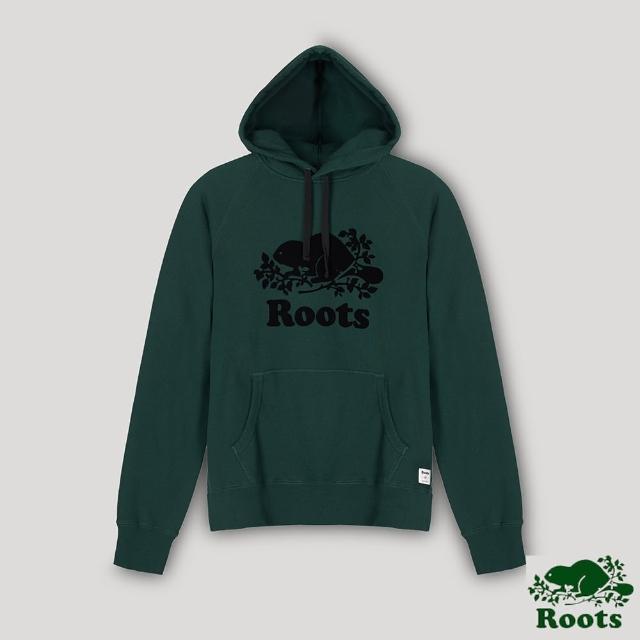 【Roots】Roots男裝- 經典海狸LOGO毛圈布連帽上衣(深綠色)