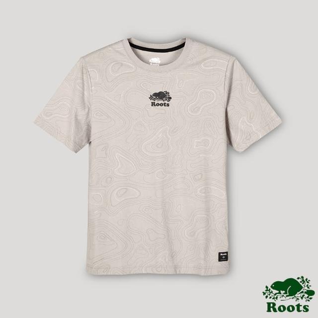 【Roots】Roots男裝-開拓者系列 等高線元素海狸LOGO短袖T恤(卡其色)