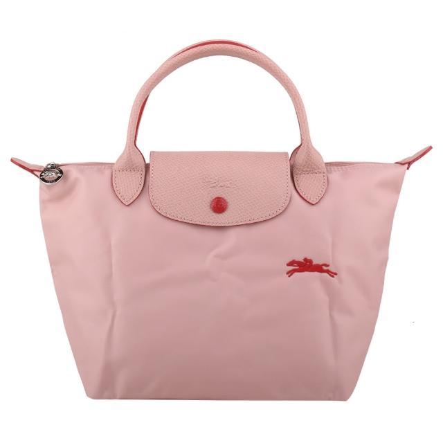 【LONGCHAMP】LE PLIAGE 紅小馬logo短提把手提包(粉/S)