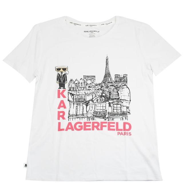 【KARL LAGERFELD 卡爾】老佛爺 巴黎風景圖案個性棉短T(白)