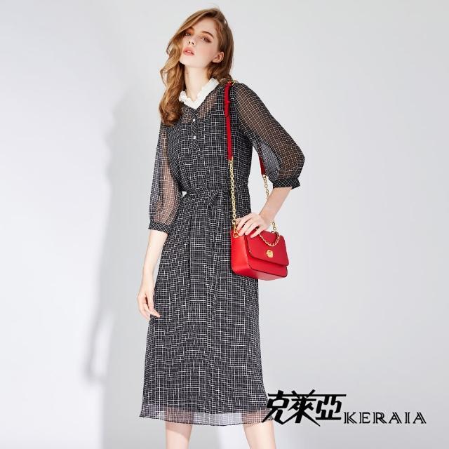 【KERAIA 克萊亞】知性小女人格紋洋裝(附本布帶)