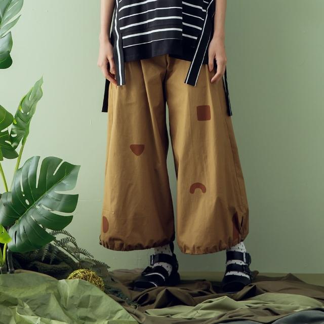 【MOSS CLUB】褲口抽繩幾何印花寬版-女長褲 印花 黑 綠 卡(三色/版型寬大)
