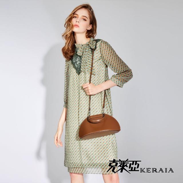 【KERAIA 克萊亞】海棠花青瓷琉璃蕾絲拼接洋裝
