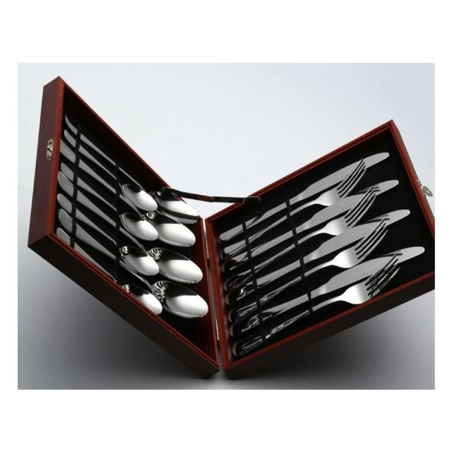 【H.S】不鏽鋼410餐刀餐叉湯匙茶匙黃金木盒16件套(GM1011SV)