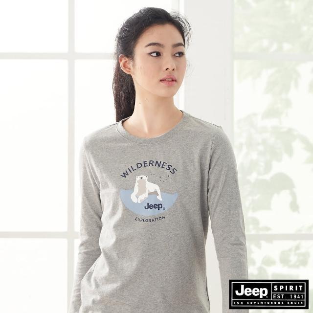 【JEEP】女裝 俏皮北極熊圖騰長袖T恤(灰)