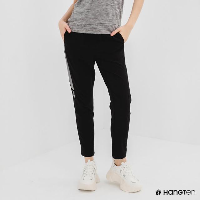 【Hang Ten】女裝-恆溫多功能-REGULAR FIT標準四向彈力吸濕快乾抗曬撞色運動長褲-黑色